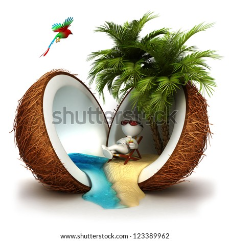 3d white people relaxed in a coconut paradise, isolated white background, 3d image - stock photo