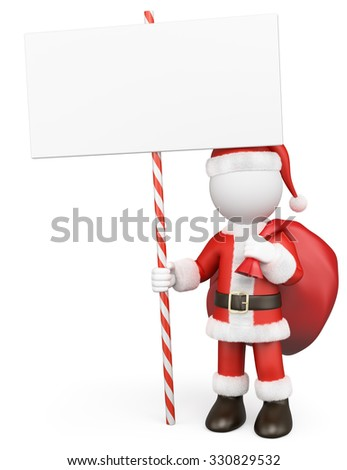 3d white people. Santa Claus with a blank in the hand. Isolated white background.  - stock photo