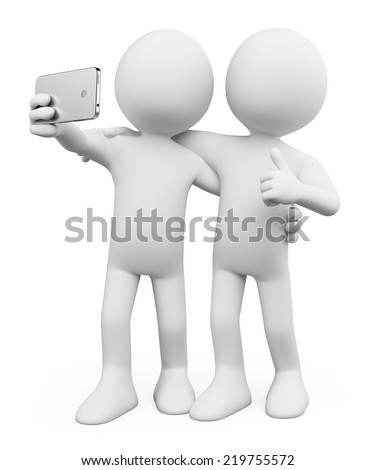 3d white people. Selfie photo with a friend. Mobile. Isolated white background.
