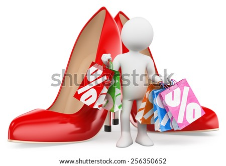 3d white people. Shopping woman with bags. Red heels. Fashion. Isolated white background. - stock photo