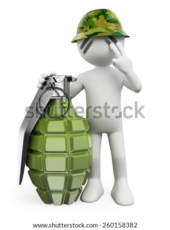 3d white people. Soldier with a hand grenade. Guerrilla. Isolated white background. - stock photo