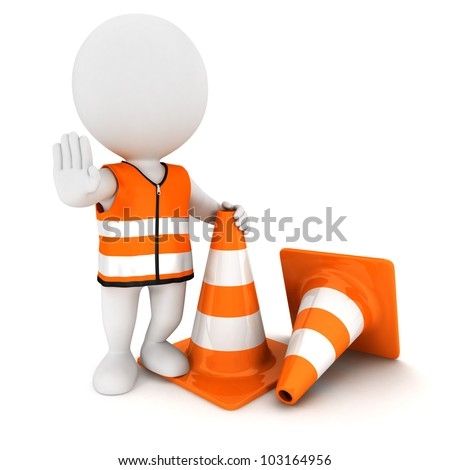 3d white people stop sign with traffic cones and wearing a safety vest, isolated white background, 3d image - stock photo