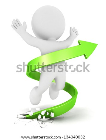 3d white people success arrow, isolated white background, 3d image - stock photo