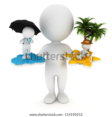 3d white people sun or rain concept, isolated white background, 3d image - stock photo