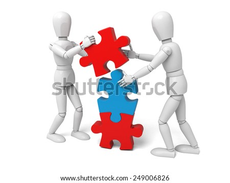 3d white people team assemble three   piece of a puzzle3d image. Isolated white background