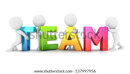 3d white people team, isolated white background, 3d image - stock photo