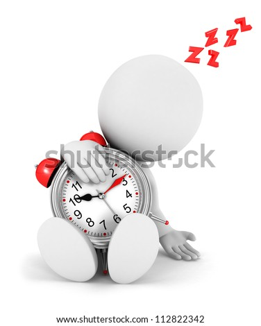 3d white people tired with a alarm clock, isolated white background, 3d image - stock photo