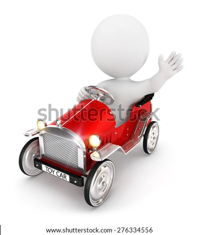 3d white people toy car, isolated white background, 3d image - stock photo