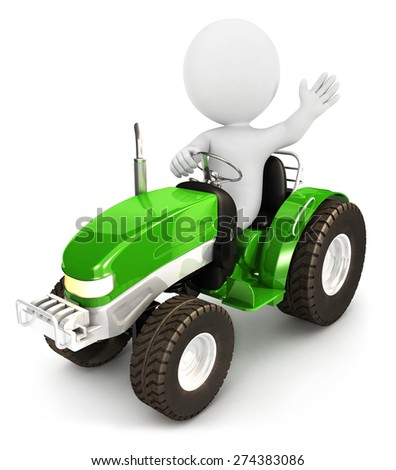 3d white people tractor, isolated white background, 3d image - stock photo