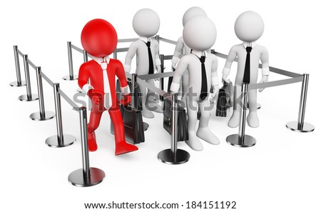 3d white people. VIP going on while others waiting in line. Isolated white background. - stock photo