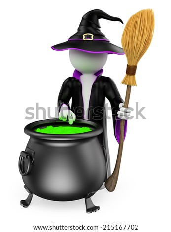 3d white people. Witch cooking a magical potion. Halloween. Isolated white background.  - stock photo