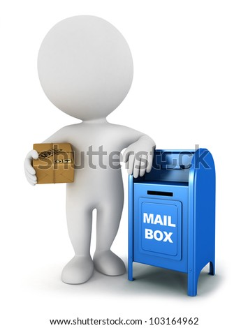 3d white people with a mail package and be leaning against a mailbox, isolated white background, 3d image - stock photo