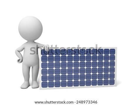 3d white people with a solar panel. 3d image. Isolated white background. - stock photo