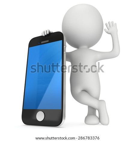 3d white people with smartphone. 3D render isolated on white background. Communication and mobile concept. - stock photo