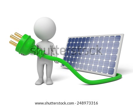 3d white people with solar panel. 3d image. Isolated white background. - stock photo