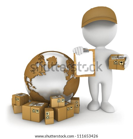 3d white people worldwide delivery, isolated white background, 3d image - stock photo
