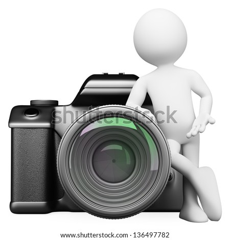 3d white person leaning on a digital camera DSLR. Isolated white background. - stock photo