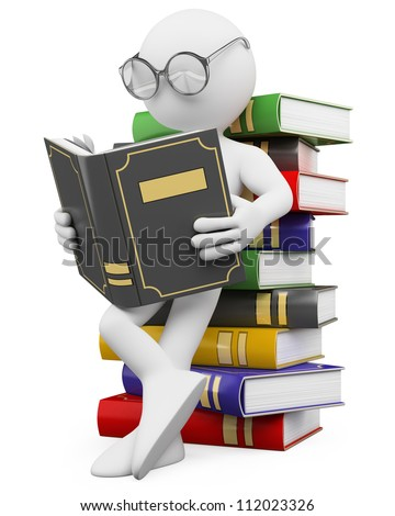 3d white person leaning on a pile of books reading. 3d image. Isolated white background. - stock photo