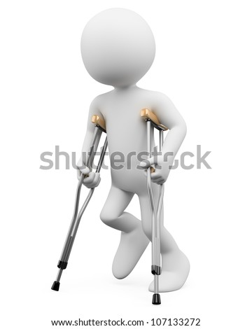 3d white person on crutches. 3d image. Isolated white background. - stock photo