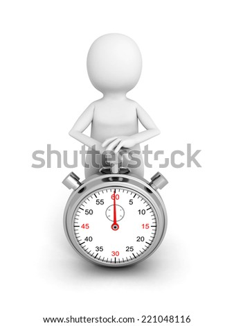 3d white person push start button on stop watch. 3d render illustration - stock photo