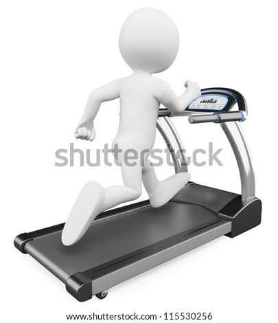 3d white person running on a treadmill. 3d image. Isolated white background. - stock photo