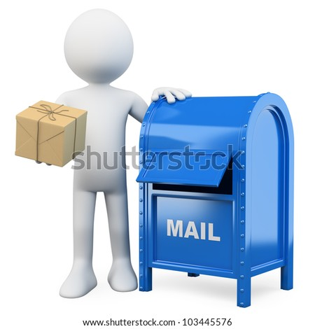 3d white person sending a package in a mail box. 3d image. Isolated white background. - stock photo