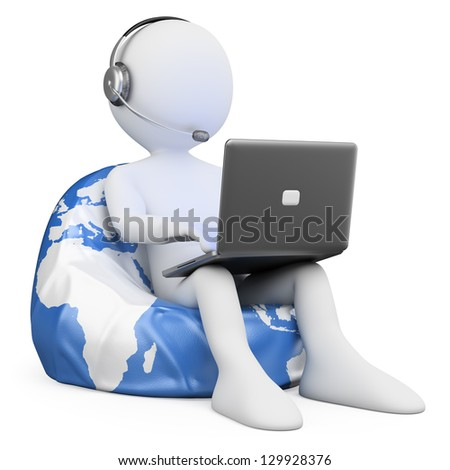 3d white person sitting on Earth browsing internet with a laptop. 3d image. Isolated white background. - stock photo