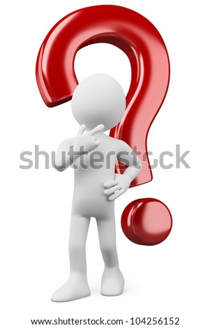 3d white person thinking and doubtful with a question mark. 3d image. Isolated white background. - stock photo