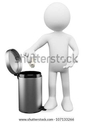 3d white person throwing a paper into the waste paper basket . 3d image. Isolated white background. - stock photo