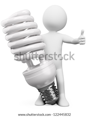 3d white person with a huge energy saver bulb. 3d image. Isolated white background. - stock photo