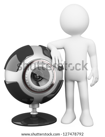 3d white person with a huge security cam. 3d image. Isolated white background. - stock photo