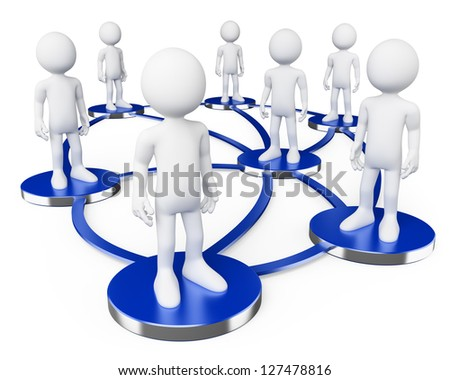 3d white persons in social networks . 3d image. Isolated white background. - stock photo