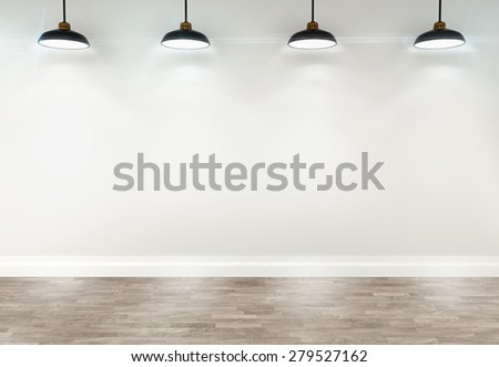 3d white room with ceiling lamps - stock photo
