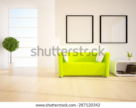 3d white room with green sofa