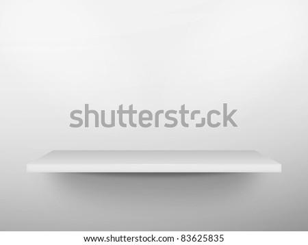 3D white shelf on wall - stock photo