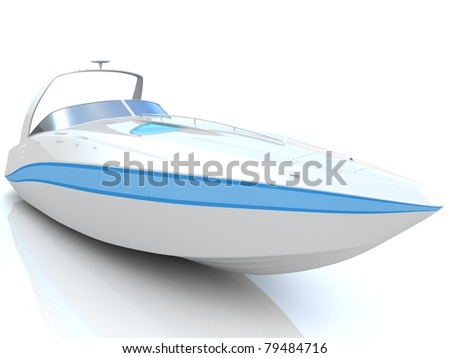 3d white speedboat isolated on a white background - stock photo