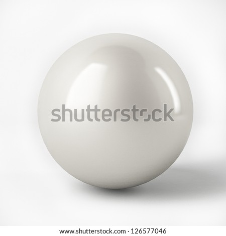 3d White Sphere with reflection surface isolated over white - stock photo