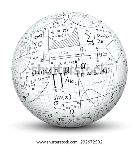 3D White Sphere with Smooth Shadow and Graph Paper Texture and Math Symbols - Isolated on White Background - stock photo