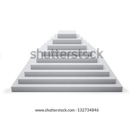 3D white step pyramid isolated on white background.