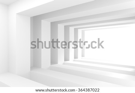 3d White Tunnel. Abstract Architecture Background - stock photo