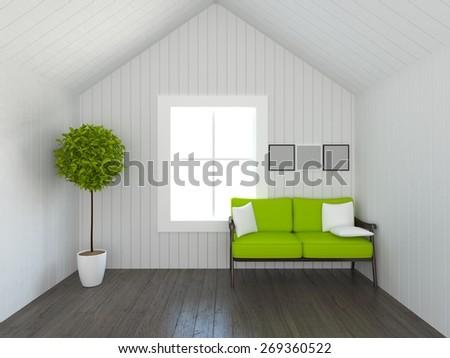 3d white village interior  - stock photo