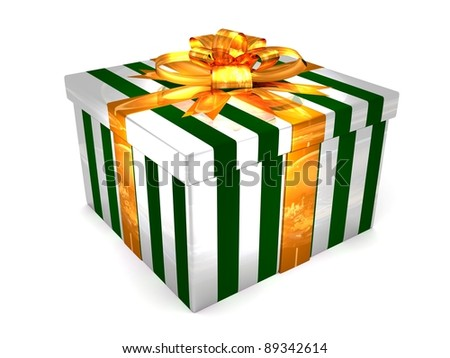 3D white with green Gift cristmas box on the white - stock photo