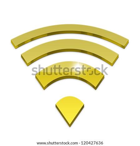 3d wifi icon isolated on white background - stock photo