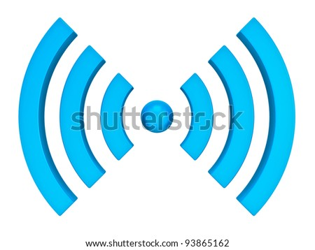 3d wifi icon isolated on white background - stock photo
