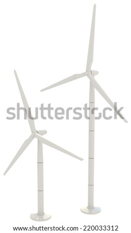 3D wind turbine for clean energy in white background in side angle
