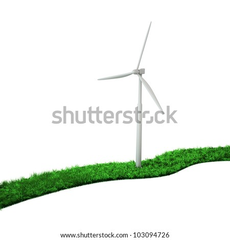 3d wind turbine on a green path from a grass