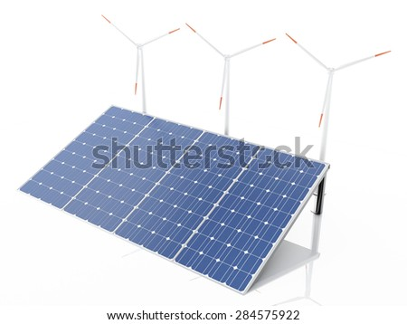 3d wind turbines and solar panels, alternative energy. Concept for ecology. Isolated white background - stock photo