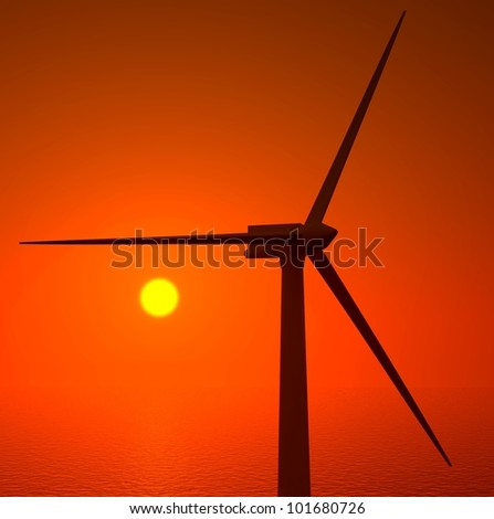 3d wind turbines producing energy in the sea, sunset - stock photo