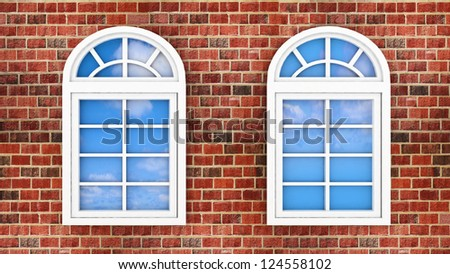 3d windows on the brick wall, with the reflection of the sky in them - stock photo