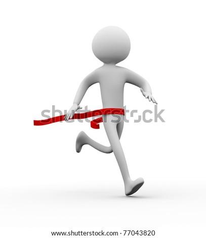 3D winner man on a finish line - stock photo